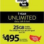 Straight Talk Unlimited Nationwide 25GB 4G Data 1 Year Service Plan Refill